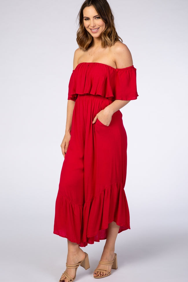 Red Ruffle Off Shoulder Jumpsuit