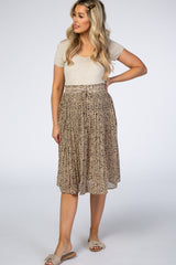 Taupe Animal Print Pleated Maternity Skirt