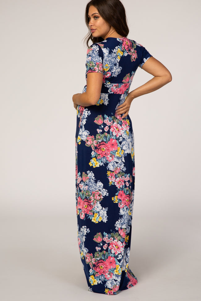 Navy Blue Floral Short Sleeve Knot Detail Maternity Maxi Dress