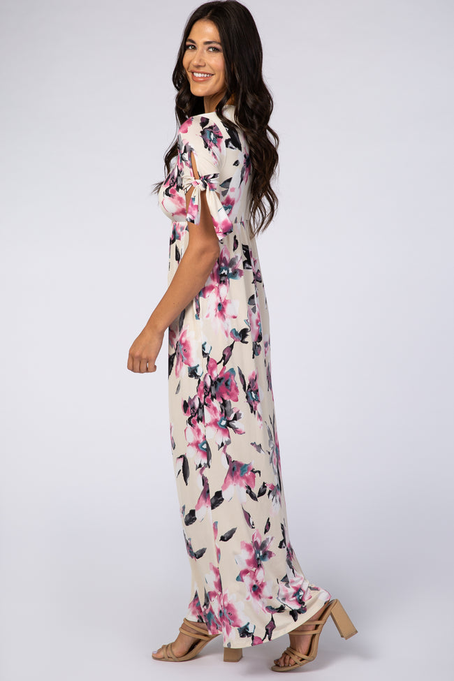 Ivory Watercolor Floral Short Sleeve Maxi Dress