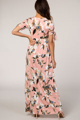 Light Pink Watercolor Floral Short Sleeve Maxi Dress