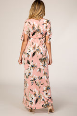 Light Pink Watercolor Floral Short Sleeve Maternity Maxi Dress