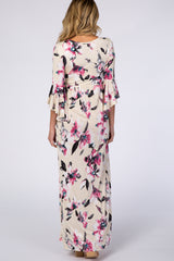Cream Watercolor Floral 3/4 Bell Sleeve Maternity Maxi Dress