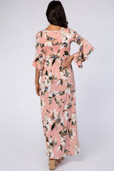 Light Pink Watercolor Floral 3/4 Bell Sleeve Maxi Dress