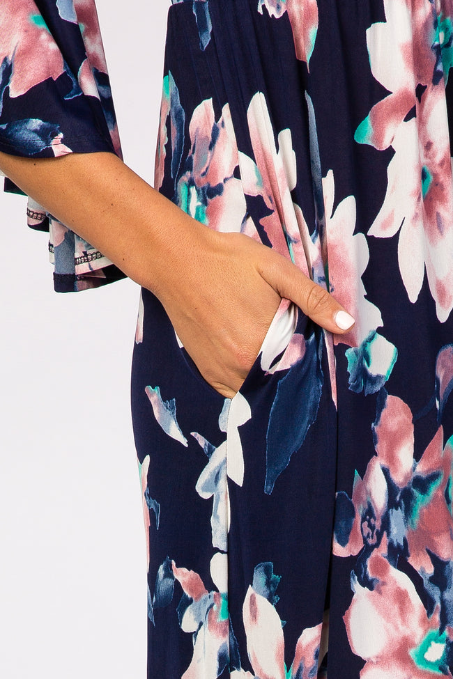 Navy Blue Watercolor Floral 3/4 Bell Sleeve Maxi Dress