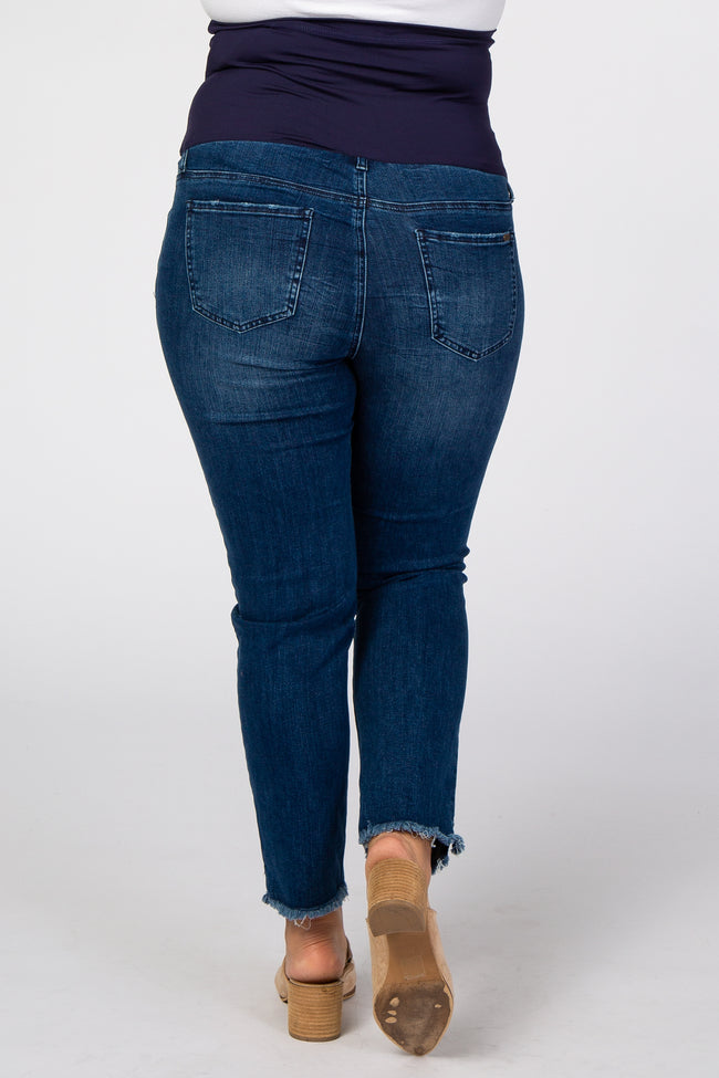 Blue Fringe Hem Maternity Plus Jeans