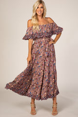 Mauve Floral Thin Strap Off Shoulder Ruffle Maternity Maxi Dress
