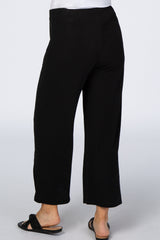Black Elastic Waist Wide Leg Cropped Maternity Pants
