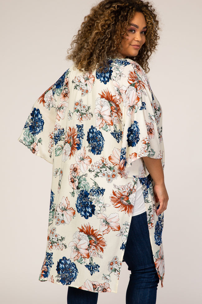 Cream Floral Side Slit Plus Maternity Cover Up