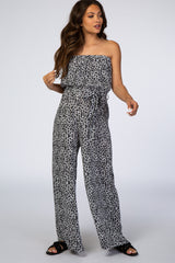 Grey Animal Print Strapless Wide Leg Maternity Jumpsuit