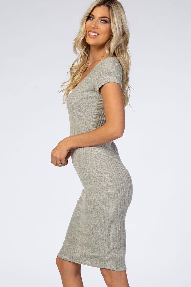 Grey Ribbed Knit Fitted Dress