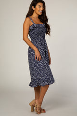Navy Floral Ruffle Accent Dress