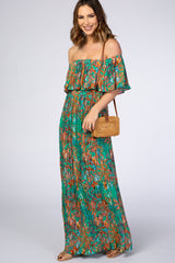 Green Floral Pleated Off Shoulder Maternity Maxi Dress