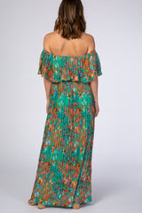 Green Floral Pleated Off Shoulder Maxi Dress
