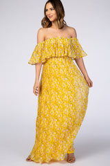 Waverleigh Yellow Floral Pleated Off Shoulder Maternity Maxi Dress
