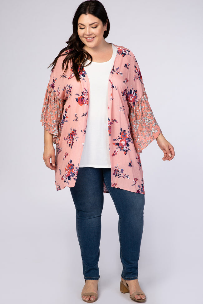 Pink Mixed Floral Maternity Plus Cover Up