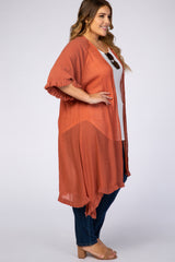 Rust Linen Fringe Plus Cover Up