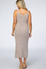 Taupe Knit Fitted Maternity Midi Dress