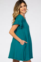 Teal Fringe Linen Maternity Dress