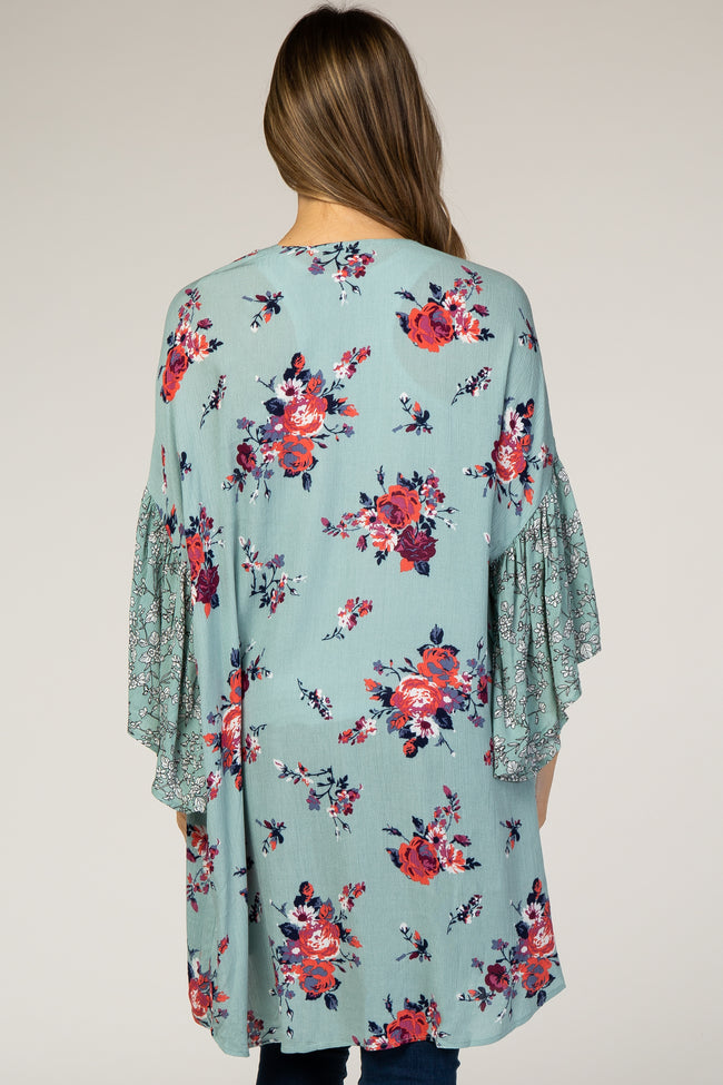 Mint Green Mixed Floral Maternity Cover Up