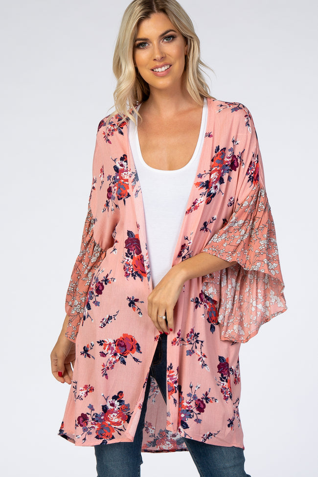 Pink Mixed Floral Cover Up