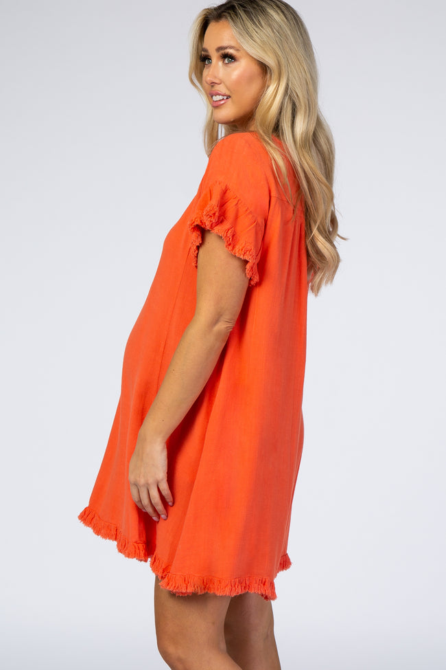 Coral Fringe Linen Maternity Dress