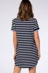 Navy Blue Striped Round Neck Short Sleeve Pocket T-Shirt Dress