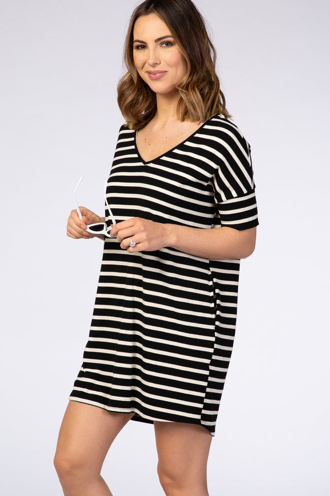 Black Striped V-Neck Short Sleeve Side Pocket Dress