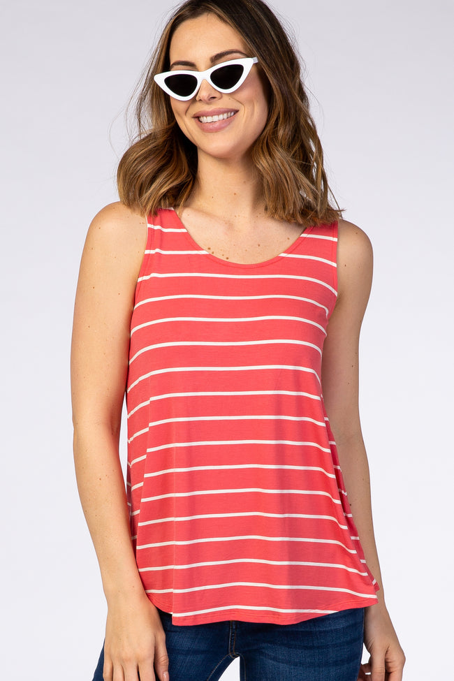 Coral Striped Round Neck Maternity Tank Top