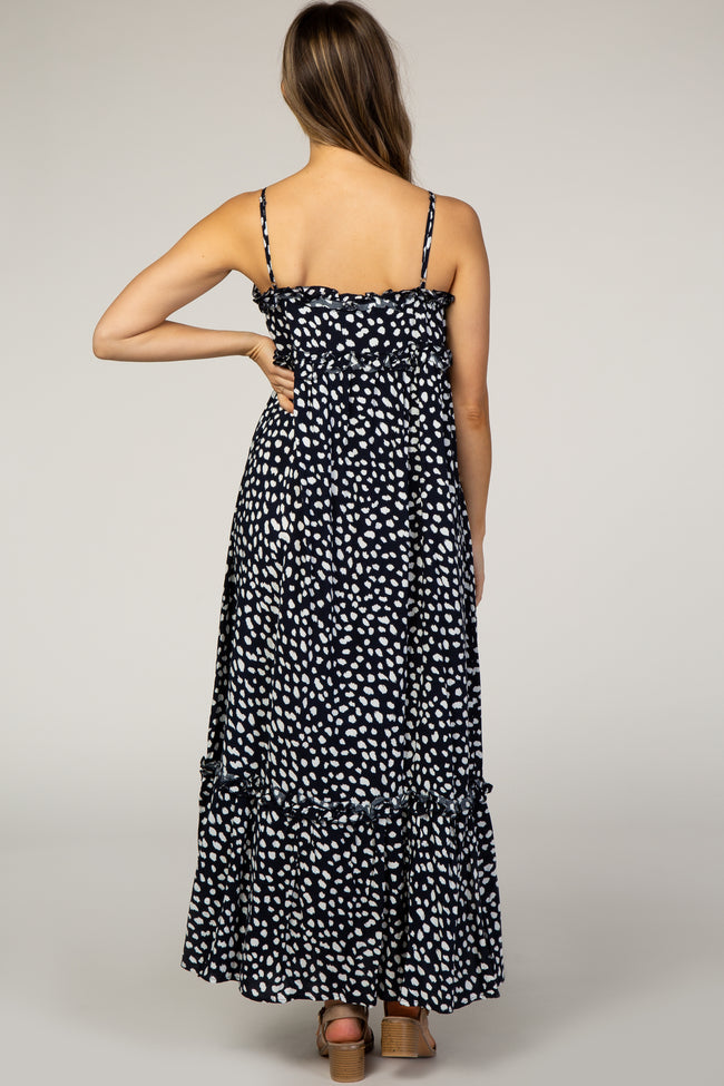 Navy Polka Dot Ruffle Trim Maternity Maxi Dress