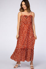 Rust Polka Dot Ruffle Trim Maxi Dress
