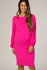 PinkBlush Fuchsia Fitted Open Sleeve Maternity Dress