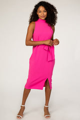 PinkBlush Fuchsia Sash Tie Mock Neck Fitted Maternity Dress