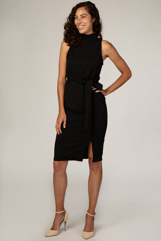 PinkBlush Black Sash Tie Mock Neck Fitted Maternity Dress