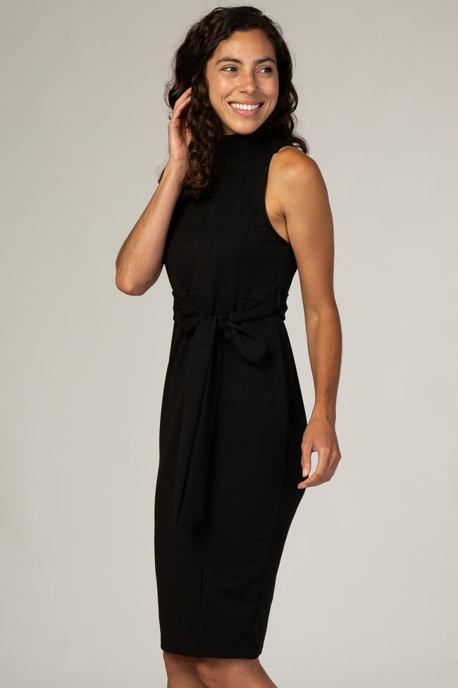 PinkBlush Black Sash Tie Mock Neck Fitted Dress