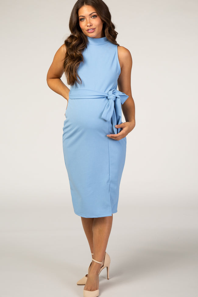 PinkBlush Light Blue Sash Tie Mock Neck Fitted Maternity Dress