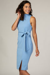 PinkBlush Light Blue Sash Tie Mock Neck Fitted Dress