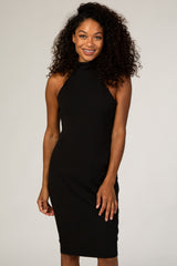 PinkBlush Black High Neckline Fitted Dress