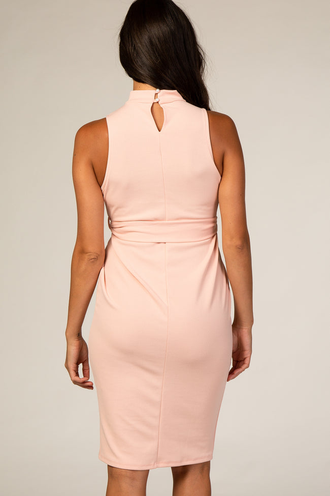 PinkBlush Light Pink Sash Tie Mock Neck Fitted Dress