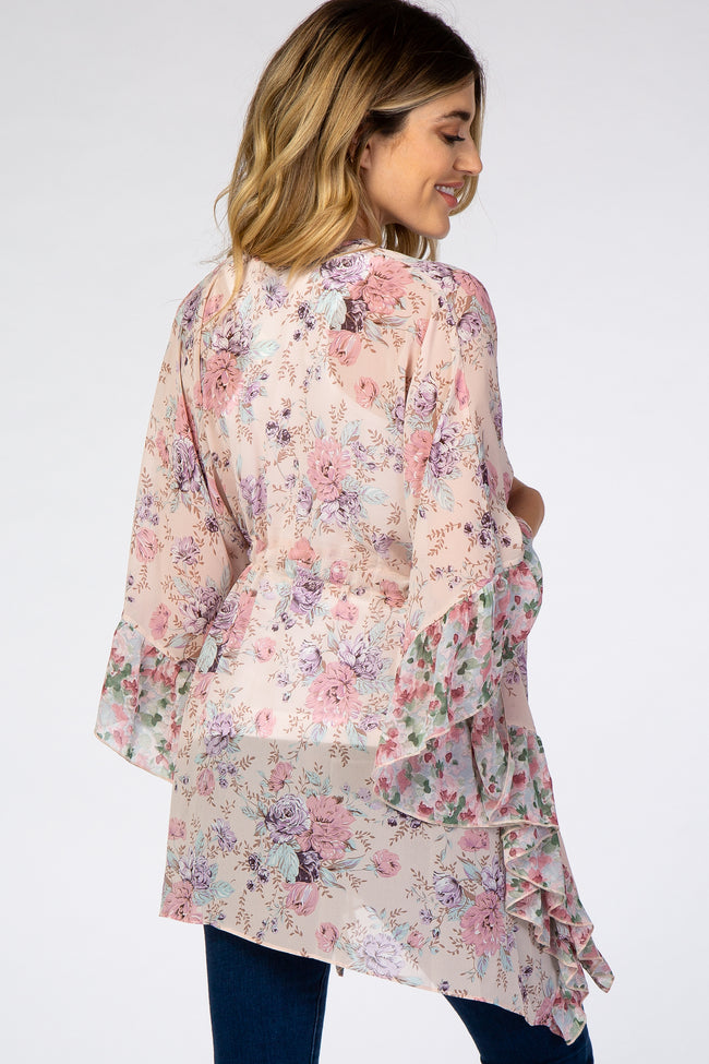 Light Pink Floral Draped Tie Waist Maternity Cover Up