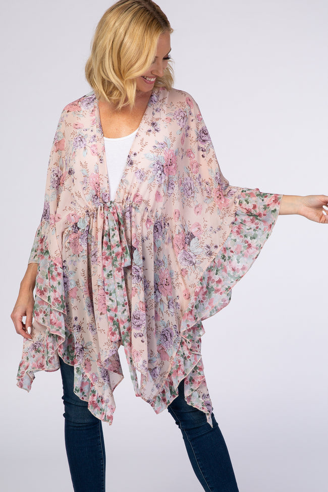 Light Pink Floral Draped Tie Waist Cover Up