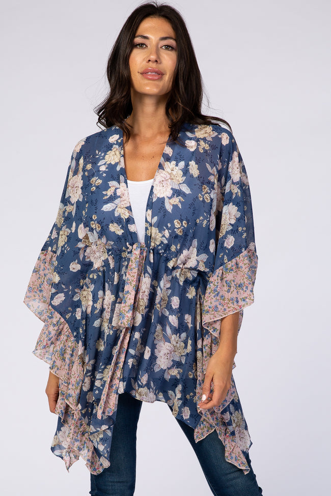 Blue Floral Draped Tie Waist Cover Up