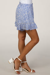 Blue Floral Ruffle Shorts