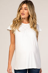PinkBlush Ivory Eyelet Short Flutter Sleeve Maternity Top