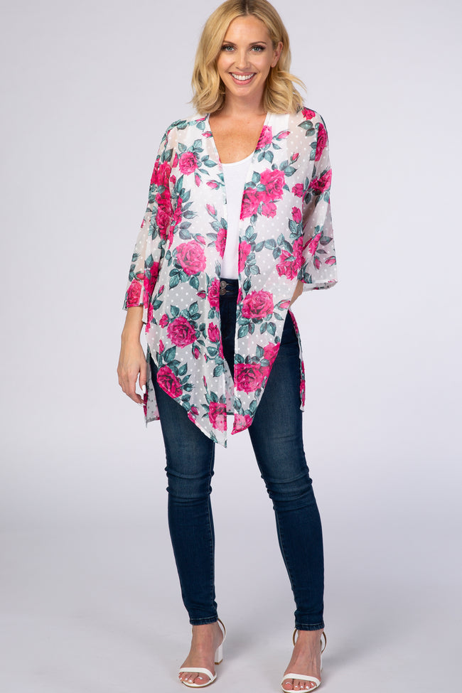 Fuchsia Rose Floral Maternity Cover Up