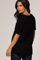 Black Short Sleeve Ladder Detail Maternity T-Shirt