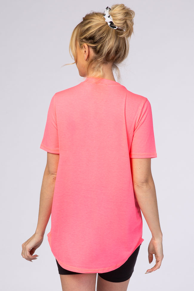 Pink Short Sleeve Ladder Detail T-Shirt