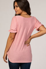 Pink Textured Polka Dot Short Ruffle Sleeve V-Neck Maternity Top