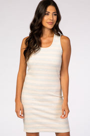 Peach Striped Sleeveless Round Neck Fitted Dress