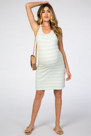Mint Green Striped Sleeveless Round Neck Fitted Maternity Dress